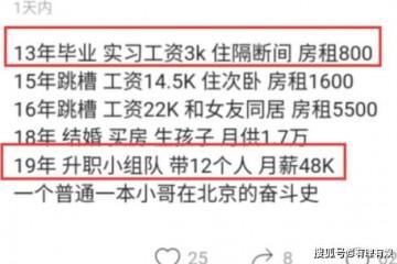男人北漂6年从年薪3万涨到60万晒出作业换岗阅历网友仰慕